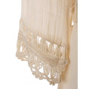 Plunge V Neck See-Through Crochet Tunic Top - APRICOT ONE SIZE
