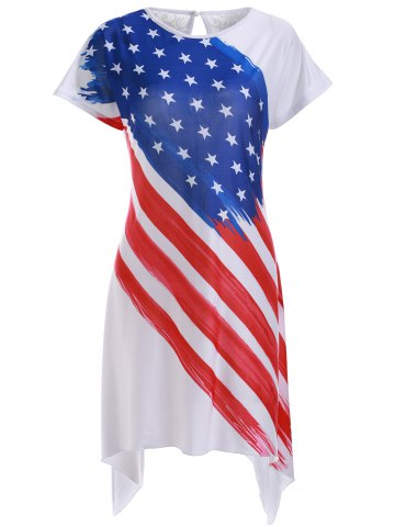 Latest Casual American Flag Print High Low Shift Dress