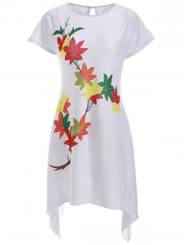 Store Casual Leaves Print High Low Shift Dress