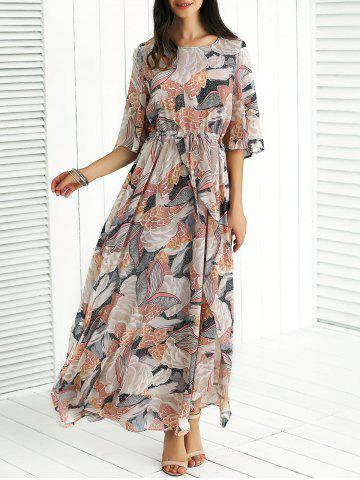Fashion Flare Sleeves Drawstring Printed Slit Dress