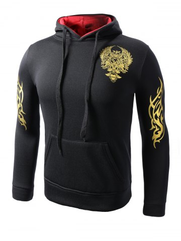 Outfits Hooded Golden Floral Print Long Sleeve Hoodie
