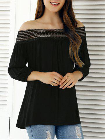 Cheap Off The Shoulder 3/4 Sleeve Blouse BLACK XL