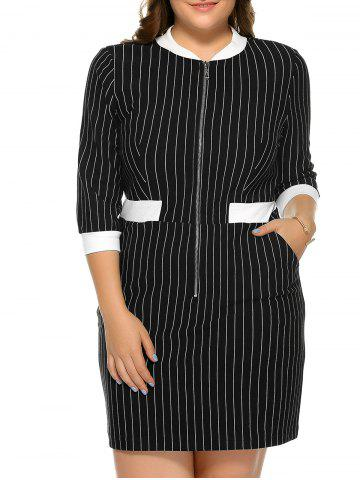 Vertical Stripe Zipper Dress