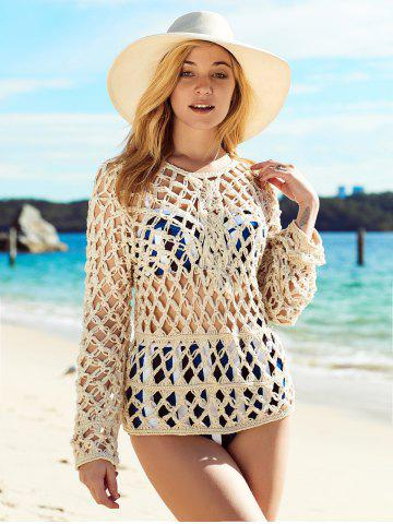 Store Long Sleeve See Through Crochet Cover-Up BEIGE ONE SIZE