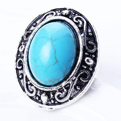 Best Retro Style Embossed Oval Fuax Turquoise Ring
