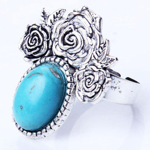 Buy Artificial Oval Turquoise Etched Rose Charm Ring