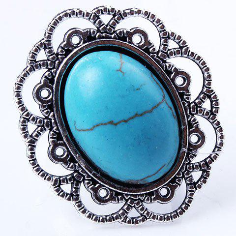 Affordable Retro Style Cut Out Etched Floral Oval Fuax Turquoise Ring - SILVER  Mobile