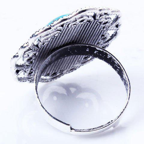 Fancy Retro Style Cut Out Etched Floral Oval Fuax Turquoise Ring - SILVER  Mobile
