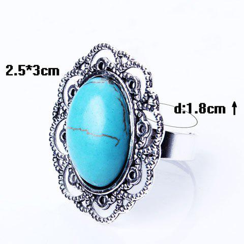 Buy Retro Style Cut Out Etched Floral Oval Fuax Turquoise Ring - SILVER  Mobile
