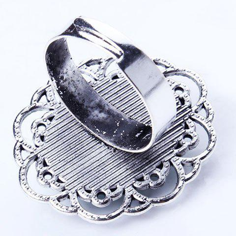 Trendy Retro Style Cut Out Etched Floral Oval Fuax Turquoise Ring - SILVER  Mobile