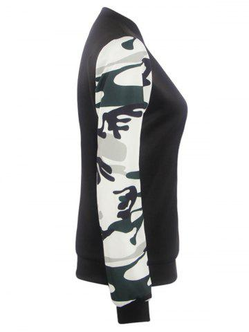 Cheap Camouflage Pattern Splicing Zippered Jacket - L BLACK Mobile
