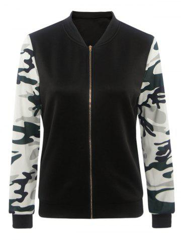 Sale Camouflage Pattern Splicing Zippered Jacket - S BLACK Mobile