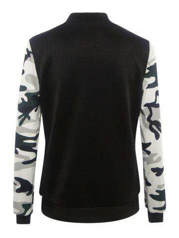 Latest Camouflage Pattern Splicing Zippered Jacket - S BLACK Mobile