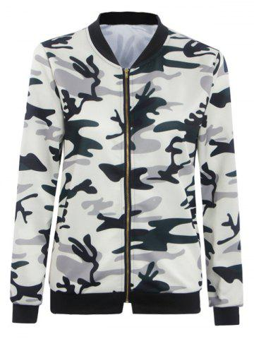 Online Camouflage Print Zipper Design Slim Jacket