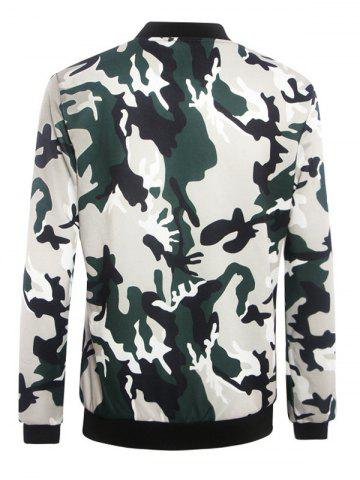 Trendy Stand Collar Camouflage Pattern Zippered Jacket - XL CAMOUFLAGE Mobile
