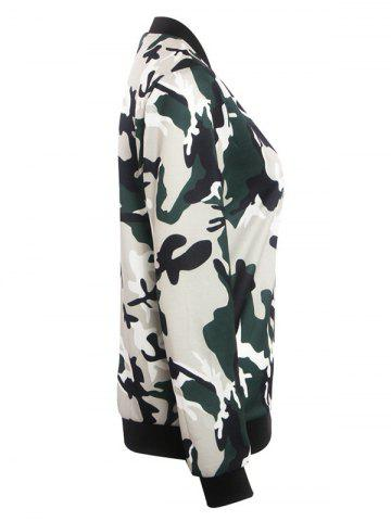 Online Stand Collar Camouflage Pattern Zippered Jacket - XL CAMOUFLAGE Mobile
