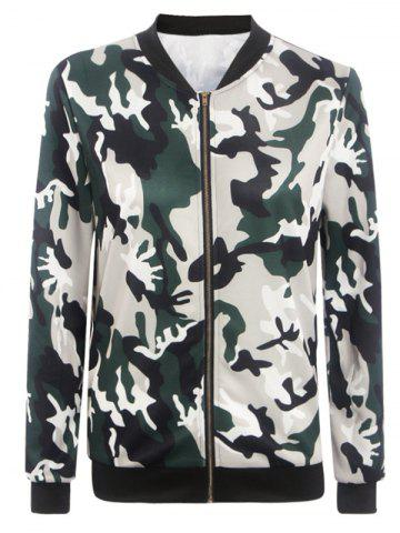 Buy Stand Collar Camouflage Pattern Zippered Jacket