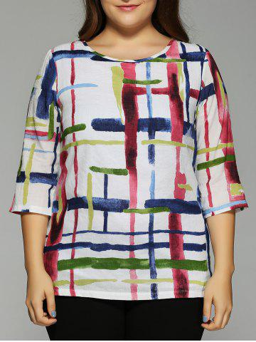 Fancy Oversized Fashion Abstract Geometric Painting Blouse