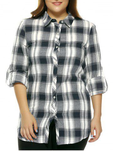 New Oversized Fashion Gingham Slit Hi Low Shirt - 2XL CHECKED Mobile