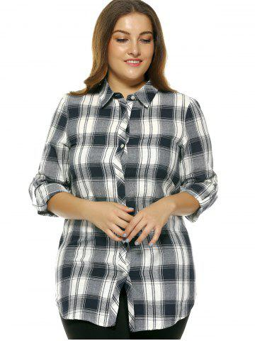 Store Oversized Fashion Gingham Slit Hi Low Shirt - 2XL CHECKED Mobile