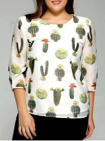 Chic Oversized Fashion Cactus Plant Print Chiffon Blouse OFF WHITE XL