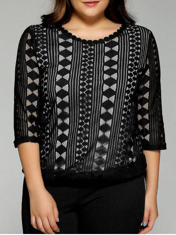 Latest Plus Size Lace Openwork  Blouse