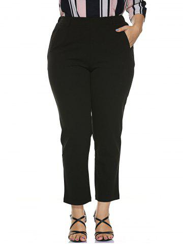 Chic Plus Size Stretched Skinny Fitted Pants - 4XL BLACK Mobile