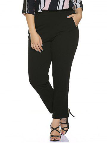 Chic Plus Size Stretched Skinny Fitted Pants - 3XL BLACK Mobile