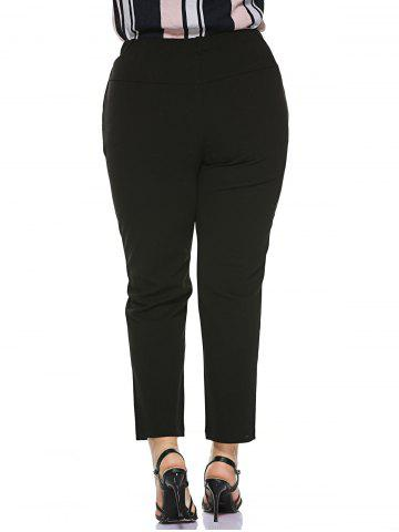 Best Plus Size Stretched Skinny Fitted Pants - 2XL BLACK Mobile