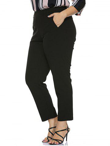 Best Plus Size Stretched Skinny Fitted Pants - XL BLACK Mobile
