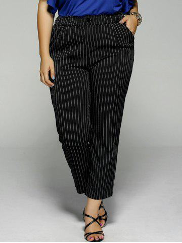 Fancy Plus Size Vertical Stripe Pocket Ankle Pants