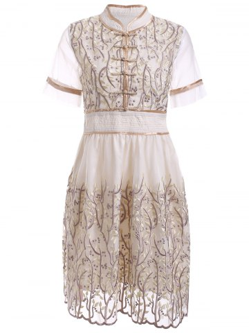 Sale Retro Mandarin Collar Hand  Embroidered Floral Dress LIGHT APRICOT L