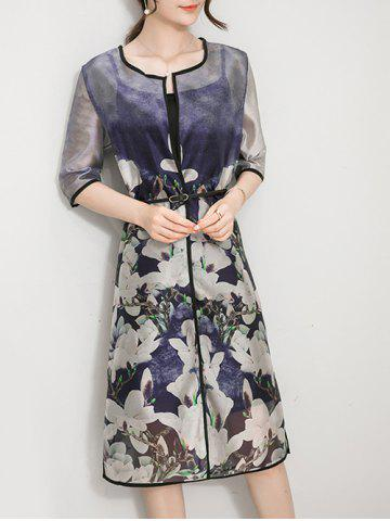 Chic Colorful Floral Slik Duster Coat  and  Cami Dress
