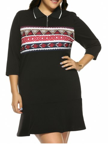 Fashion Plus Size Print Mini Fitted Dress