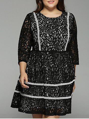 New Plus Size Lace Crochet High Waisted Dress BLACK 5XL