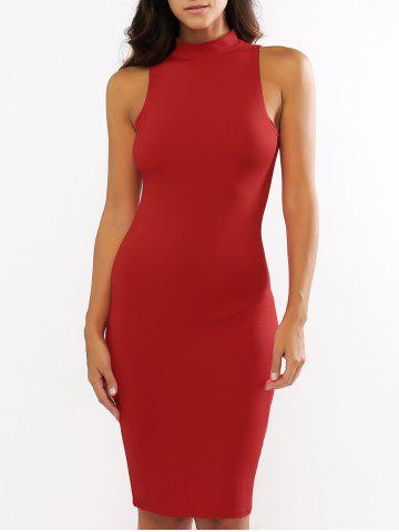 Shop Stand Collar Sleeveless Bodycon Knee Length Dress