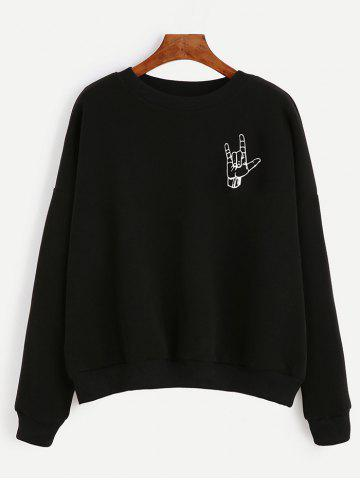 Unique Loose-Fitting Finger Print Black Sweatshirt