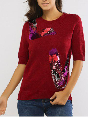 Outfit Sequined 1/2 Sleeve Round Neck Sweater