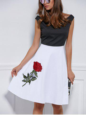 Affordable V Neck Embroidered Splice Dress