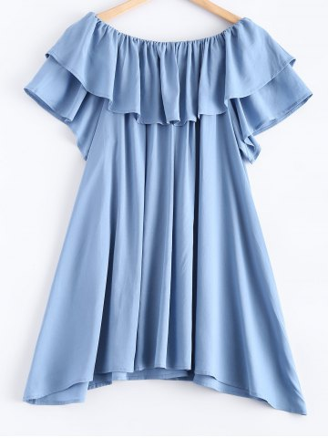 Hot Pure Color Frilled Overlay Asymmetric Dress