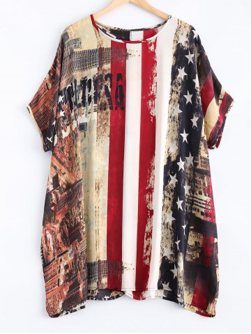 Cheap Flag Pattern Dolman Sleeves Chiffon Patriotic Dress COLORMIX ONE SIZE