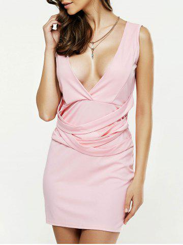 Fashion Strappy Plunging Neck Sleeveless Bodycon Dress LIGHT PINK XL