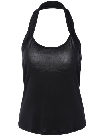 Buy Pure Color Halter Neck Backless Tank Top