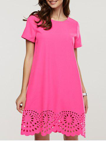 Chic Crochet Pure Color Short Sleeve Dress