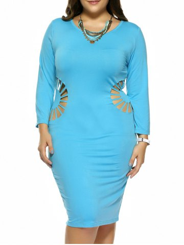 Fashion Plus Size Hollow Out Skinny Slimming Dress