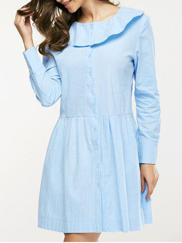 Flounce Collar Button Design Ruched Dress - Light Blue - S