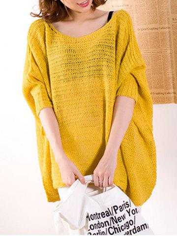 Outfit Batwing Sleeve Asymmetrical Loose-Fitting Sweater