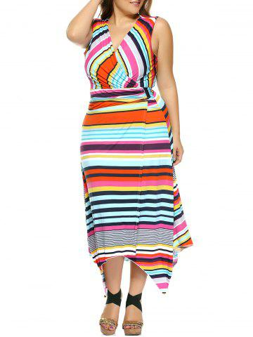 Fancy Plus Size Colorful Striped Irregular Dress