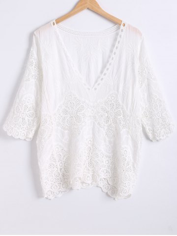 Online Wave Cut Crochet Openwork Blouse WHITE ONE SIZE