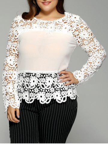 Affordable Plus Size Spliced Crochet Openwork Blouse